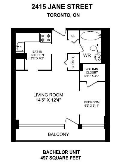 Bachelor apartment for rent in NORTH YORK
